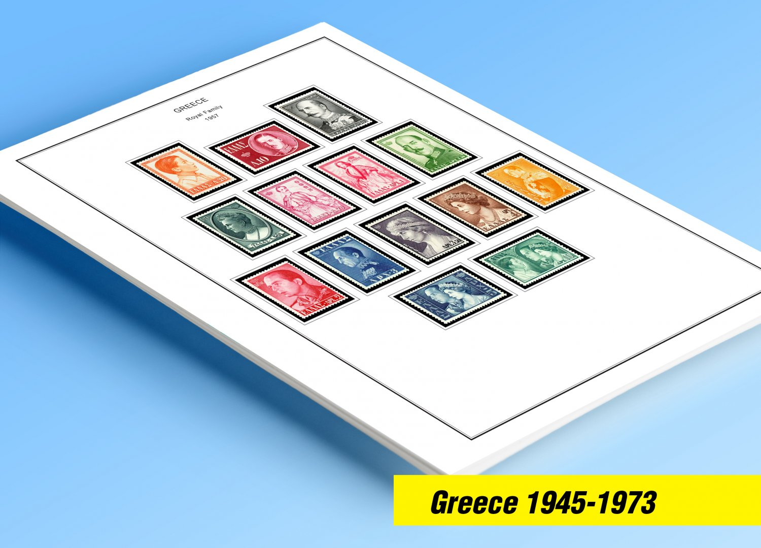 COLOR PRINTED GREECE [KINGDOM] 1945-1973 STAMP ALBUM PAGES (66 illustrated pages)