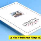 COLOR PRINTED USA FIRST OF STATE DUCK 1971-1996 STAMP ALBUM PAGES (57 illustrated pages)