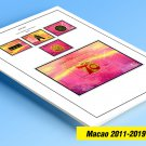 COLOR PRINTED MACAO 2011-2019 STAMP ALBUM PAGES (107 illustrated pages)