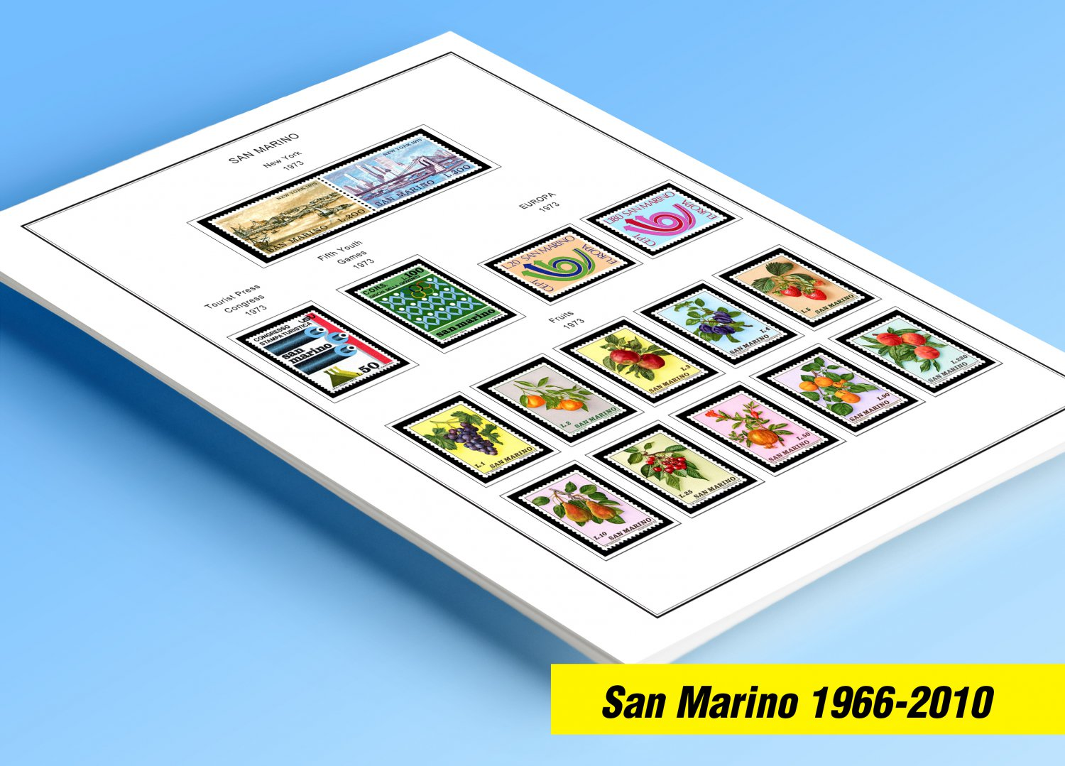 COLOR PRINTED SAN MARINO 1966-2010 STAMP ALBUM PAGES (180 illustrated pages)