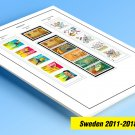 COLOR PRINTED SWEDEN 2011-2018 STAMP ALBUM PAGES (54 illustrated pages)