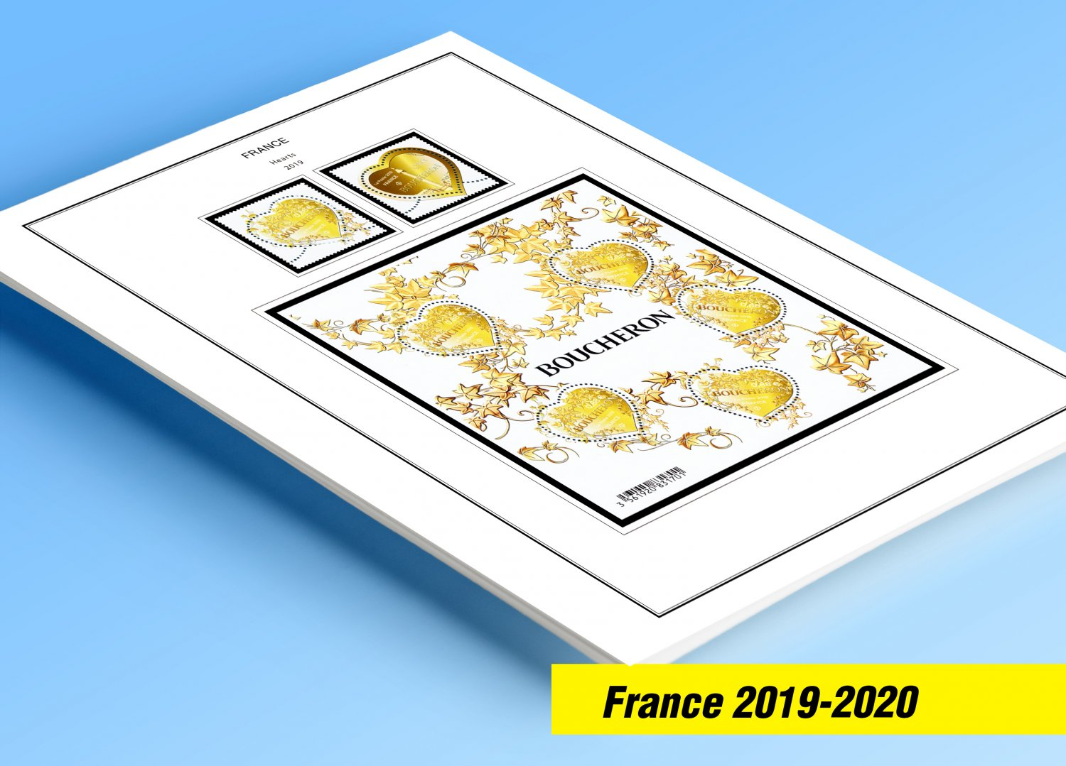 COLOR PRINTED FRANCE 2019-2020 STAMP ALBUM PAGES (63 illustrated pages)