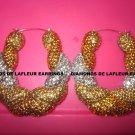 Crystal Bamboo Large Doorknocker Earrings