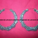 Crystal Bamboo Hoop Earrings Large Size