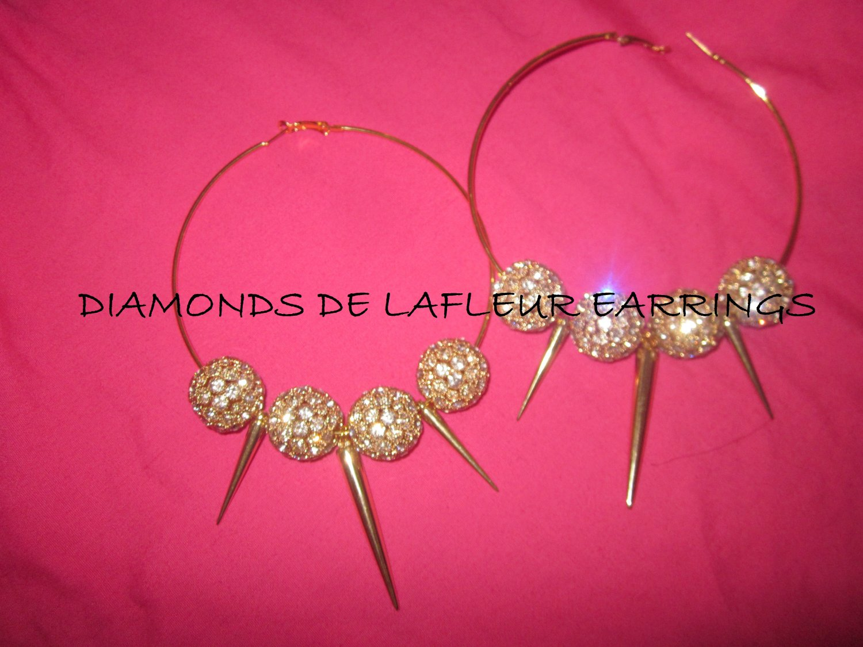 Crystal Ball Hoop Earrings with Spikes like Basketball Wives