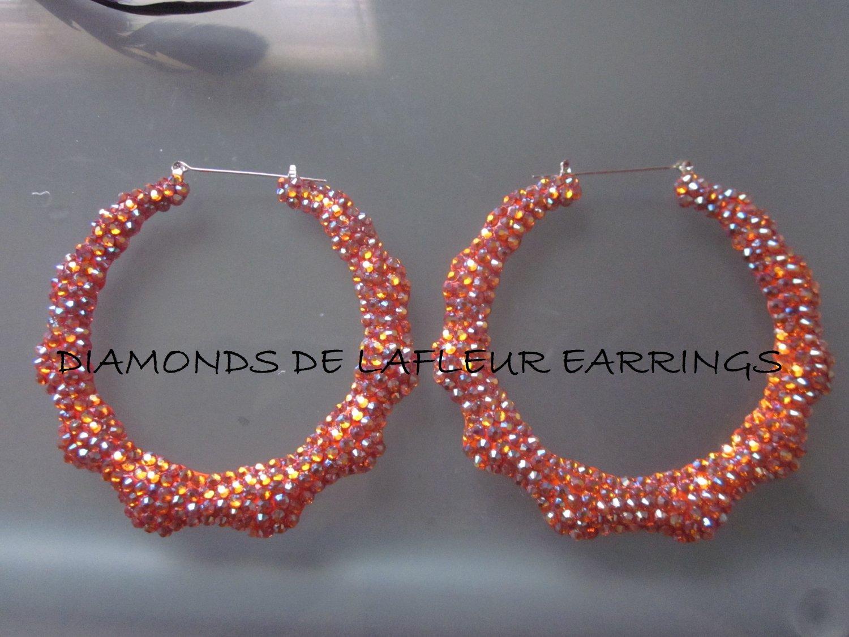 Swarovski Crystal Sun Kissed Bamboo Hoop Earrings Large Size