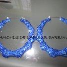 Swarovski Crystal Blueberry Blast Bamboo Hoop Earrings Large Size