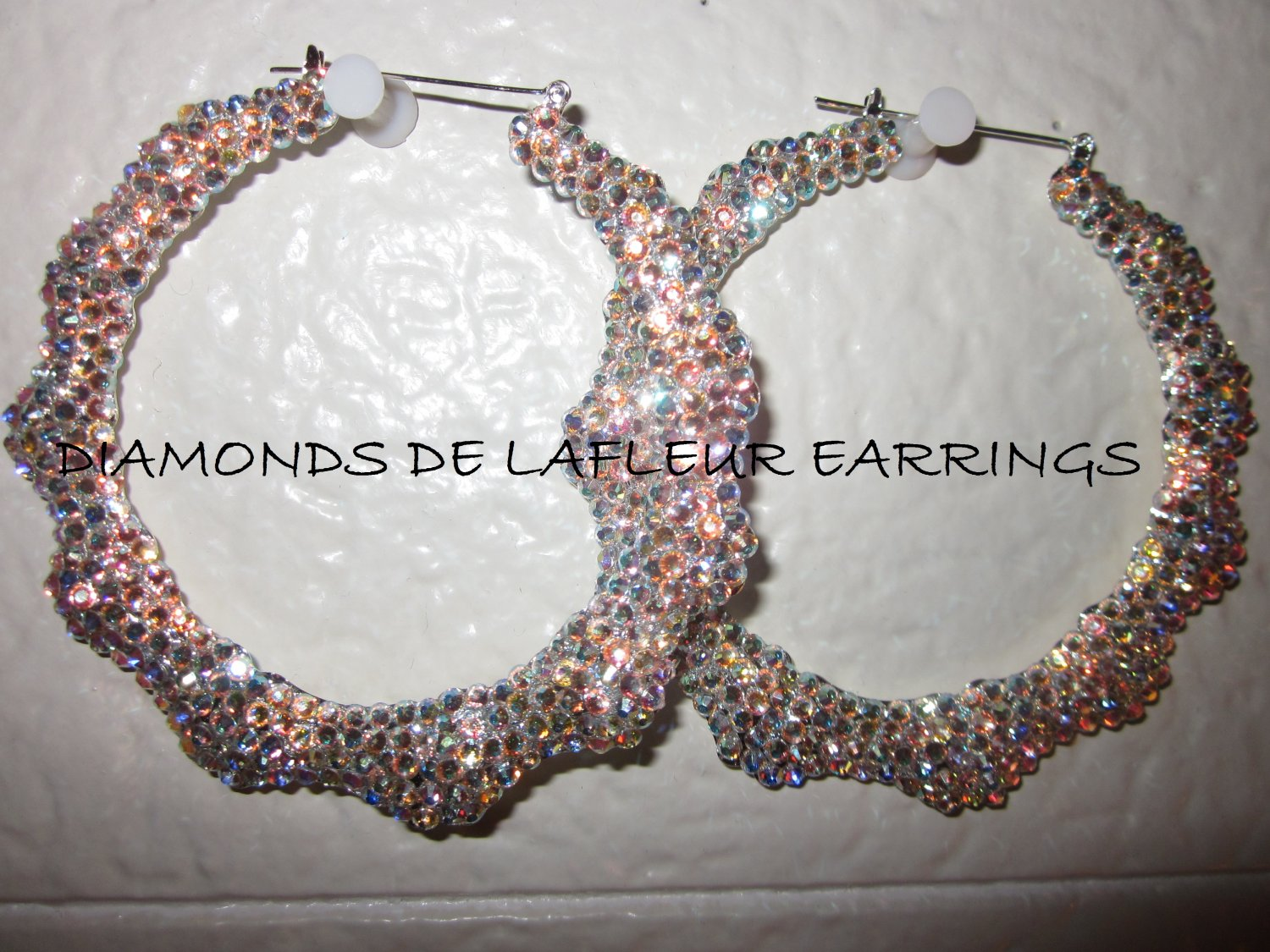Swarovski Crystal Anytime Bamboo Hoop Earrings Large Size