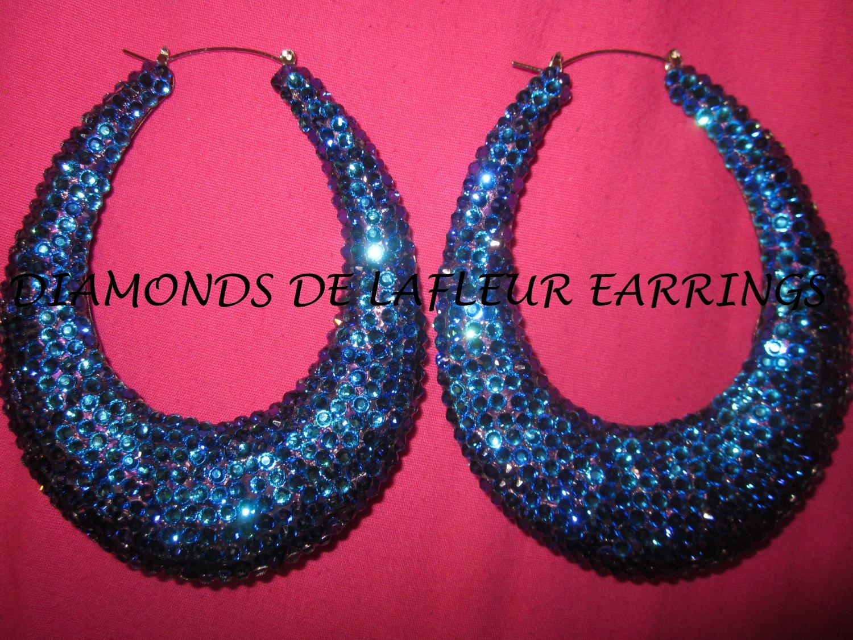 Swarovski Crystal Midnight Skies Bamboo Teardrop Earrings Large Size