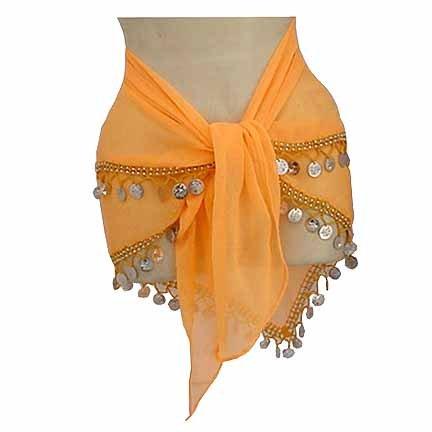 Belly Dancing Hip Scarf Orange 2 lines