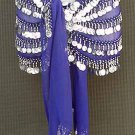 5 Line Blue Chiffon Hip Scarf Belly Dance