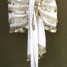 White Belly Dancer Hip Scarf 5 Lines Gold