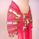 New Magenta BELLY DANCE Costume hip Scarf 5 line
