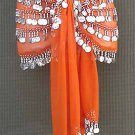 Orange BELLY DANCING Costume hip scarf 5 Lines