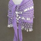Lilac Belly Dance DANCING Hip Scarf 3 Line Belt
