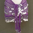 Purple Belly Dancer Dancing Costume Hip Scarf 3 Line Belt
