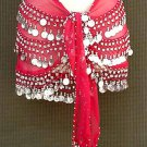 Red Belly Dancing Costume Hip Scarf 3 Line Shimmy Belt