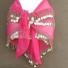 Egyptian Belly Dance Hip Scarf Magenta 3 Line Gold