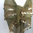 New Belly Dancing Hip Scarf Moss Green 3 Line Gold