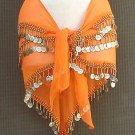 Orange Belly Dance Hip Scarf Moss Green 3 Lines