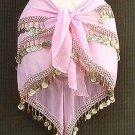 Pink Belly Dance Hip Scarf 3 Rows