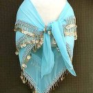Belly Dance Hip Scarf Turqoise 3 Rows Gold Coins