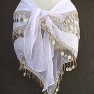 White Belly Dance Hip Scarf 3 Rows Gold Coins