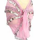 Pink Belly Dancing Hip Scarf 4 Line with Beads and Coins