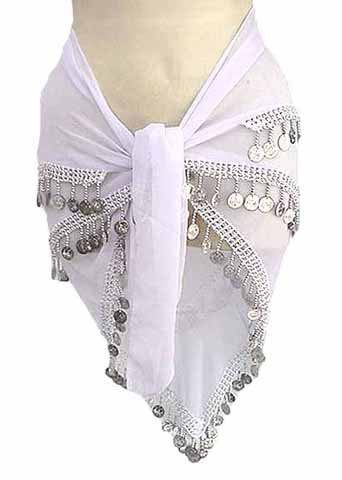White Belly Dancing Hip Scarf 4 Line with Beads and Coins