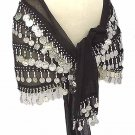 Black Belly Dance Hip Scarf 5 Lines Beads and Coins