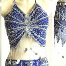 Belly Dance Costumes Blue Dress AS Silver