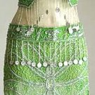 Belly Dancer Costumes Green Dress AS Silver