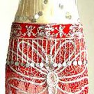 Belly Dancer Costumes Red Dress AS Silver