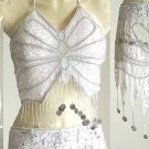 Belly Dancer Costumes White Dress AS Silver