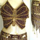 Tribal Belly Dance Costumes Black Dress AS with Silver Embroidery