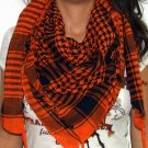 Plaid Check Scarf Black and Orange Arafat