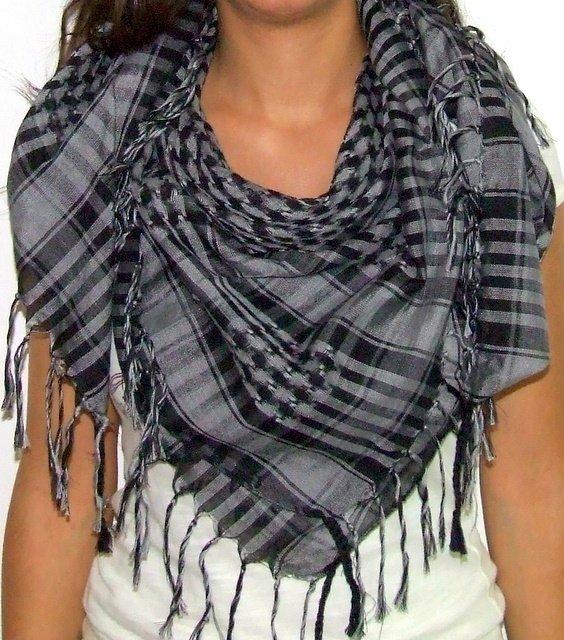 Plaid Check Scarf Black and Gray Arafat