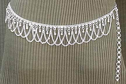Silver Belly Chain Coin Belt Waist Chain Q