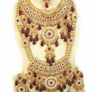 Indian Sari Bridal Jewelry Wedding Set 2 Necklace Multicolor Stones WJ-03