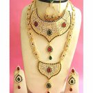 Indian Sari Bridal Jewelry Wedding Set 2 Necklace Multicolor Stones WJ-04