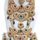 Indian Sari Bridal Jewelry Wedding Set 2 Necklace Multicolor Stones WJ-05