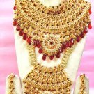 Indian Saree Bridal Jewelry Wedding Set 2 Necklace Multicolor Stones WJ-06