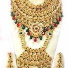 Indian Saree Bridal Jewelry Wedding Set 2 Necklace Multicolor Stones WJ-08