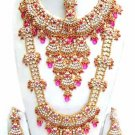 Indian Saree Bridal Jewelry Wedding Set 2 Necklace Multicolor Stones WJ-10