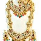 Indian Saree Bridal Jewelry Wedding Set 2 Necklace Multicolor Stones WJ-11
