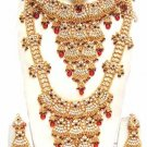 Indian Saree Bridal Jewelry Wedding Set 2 Necklace Multicolor Stones WJ-13