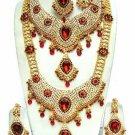 Indian Saree Bridal Jewelry Wedding Set 2 Necklace Multicolor Stones WJ-15