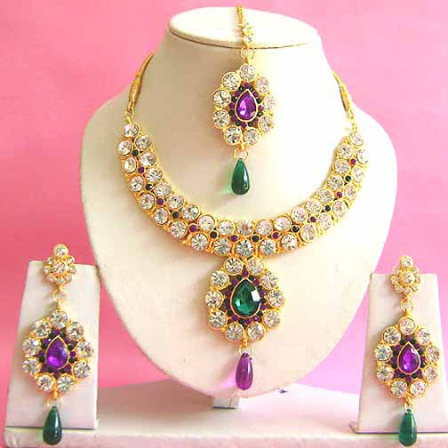 Indian Bridal Saree Jewelry Set Multicolor Stones NP-202