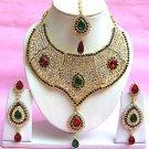 Indian Bridal Saree Jewelry Set Multicolor Stones NP-207