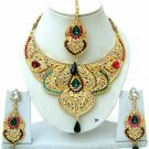 Indian Bridal Saree Jewelry Set Multicolor Stones NP-224